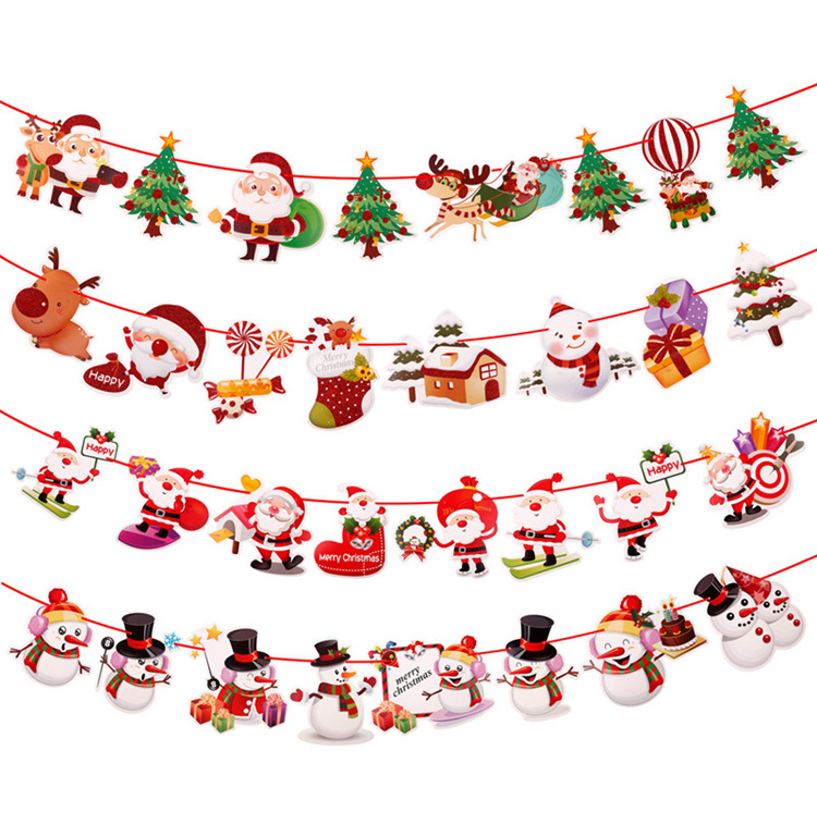 PATIMATE Christmas Flag Banner Decorations For Home Hanging Drop Ornaments 2019 Xmas Decor New Year 2020