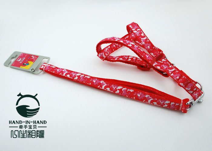 1.5 Centimeter Red Camouflage Printed Bell Dog Pull Neck Band Pet's Chest-back Hand Guard Hand Holding Rope