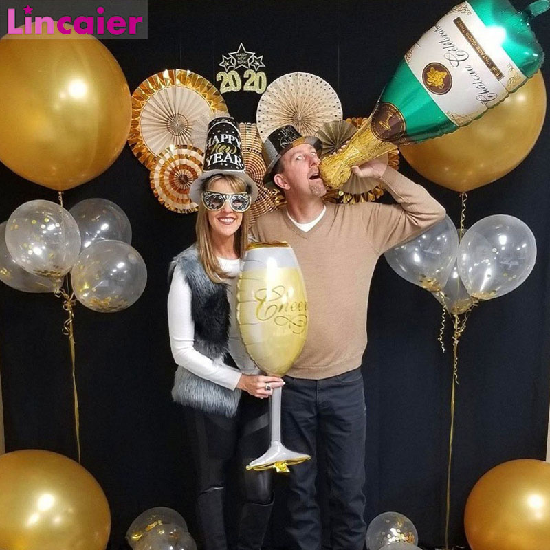 Big Champagne Wine Glass Foil Balloons Graduation 2020 Party Decoration Gift Graduation Class of 2020 Photobooth Party Supplies image