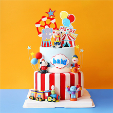 Circus Clown train Elephant Boy Girl Birthday Party Cake Topper Party Supplies Monkey Straw Kid Baking Dessert Love Gifts love live sunshine aqours anime kanan mari chika yoshiko ruby dia hanamaru kunikida happy party train birthday rubber keychain