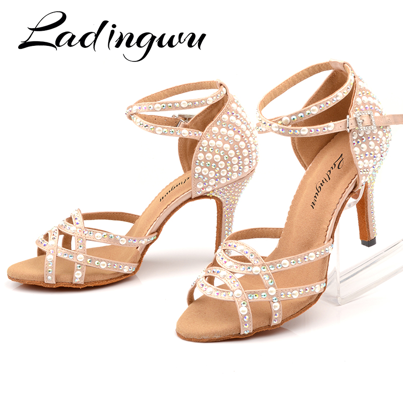 Ladingwu Ballroom Latin Tango Dance Shoes Women Soft Sole High Heels for Women Skin Color Stable Dancing latin dance shoes woman(China)