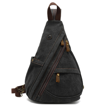 Canvas Sling Chest Bags With Earphone Port  Men's Cross-Body Causal Messenger Day Pack Male Women's Shoulder Satchel Backpack
