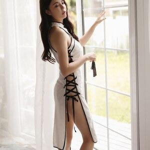Image 5 - Seksi Cheongsam Uyku Elbise Retro Süet Pijama Yüksek Açık Bölünmüş Iç Çamaşırı Bandaj Qipao Çin Iç Çamaşırı Parti Elbiseler