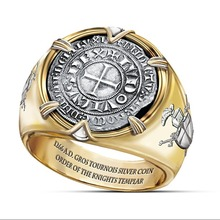 Vintage 925 Silver Crusaders Plated Gold Ring Coin Men's Gift Anniversary Jewelry