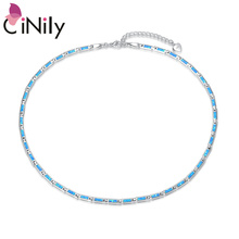 CiNily Ocean Blue Fire Opal Silver Plated Fashion Jewelry Adjustable Chain Necklaces for Jewelry Fashion Necklace Women Gift