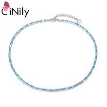Cinily oceano azul fogo opala prata chapeado moda jóias ajustável corrente colares para jóias moda colar feminino presente