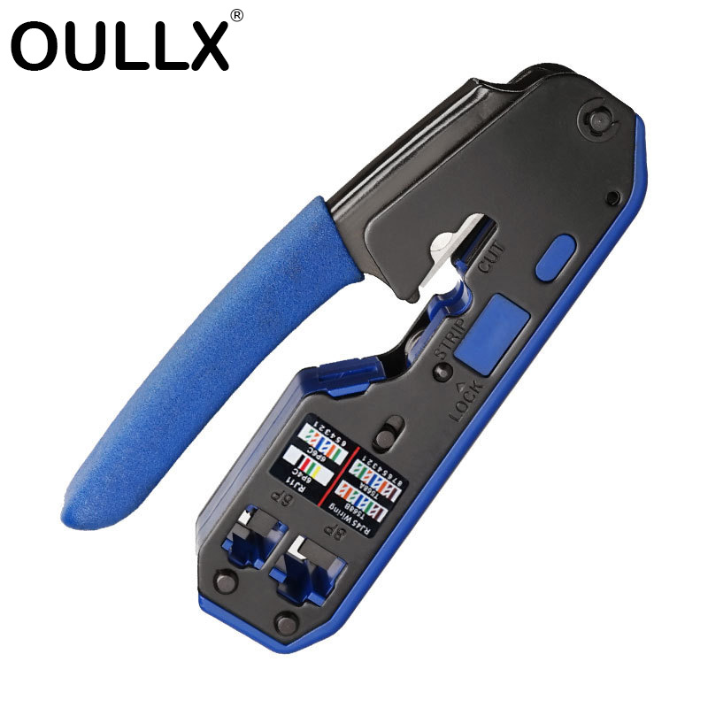 OULLX Multifunctional RJ45 RJ11 Connector Crystal Head 8C8P Network Tool With Wire Stripping Squeeze Crimping Wire Pliers