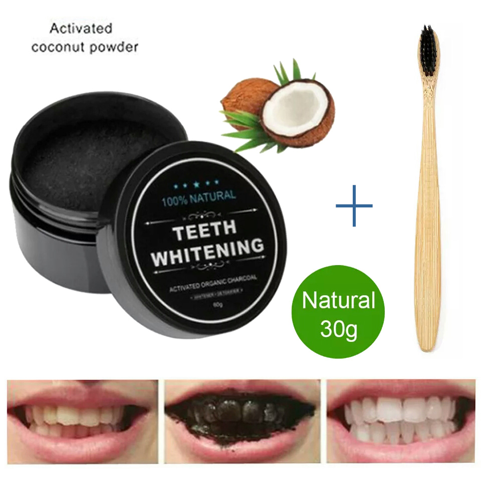 30g Teeth Whitening Oral Care Charcoal Powder Natural Activated Charcoal Teeth Whitening Kit with Toothbrush for Oral Hygiene(China)