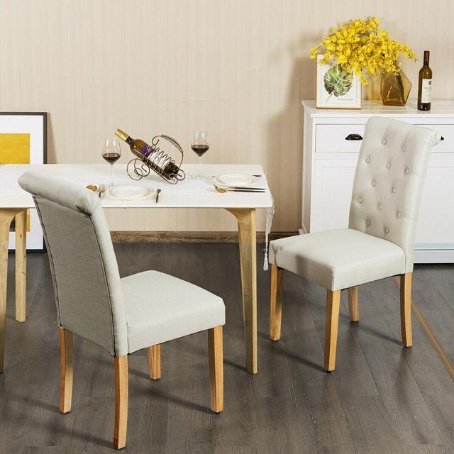 Set of 4 Tufted Dining Chair Parsons Upholstered Fabric Chair with Wooden Legs 4