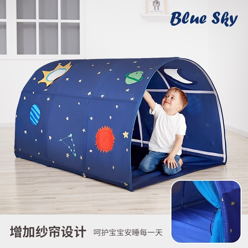 Kids Bed Tent Baby Cartoon Foldable Playhouse Comforting Sleeping Indoor Outdoor Anti-mosquito Camp