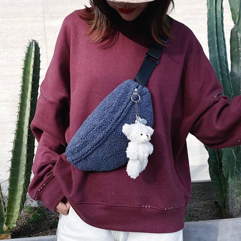 Casual Women's Waist Bag Fanny Pack Fashion Plush Belt Bags Banana Bag Autumn And Winter Wild Crossbody Chest Pack Waist Packs