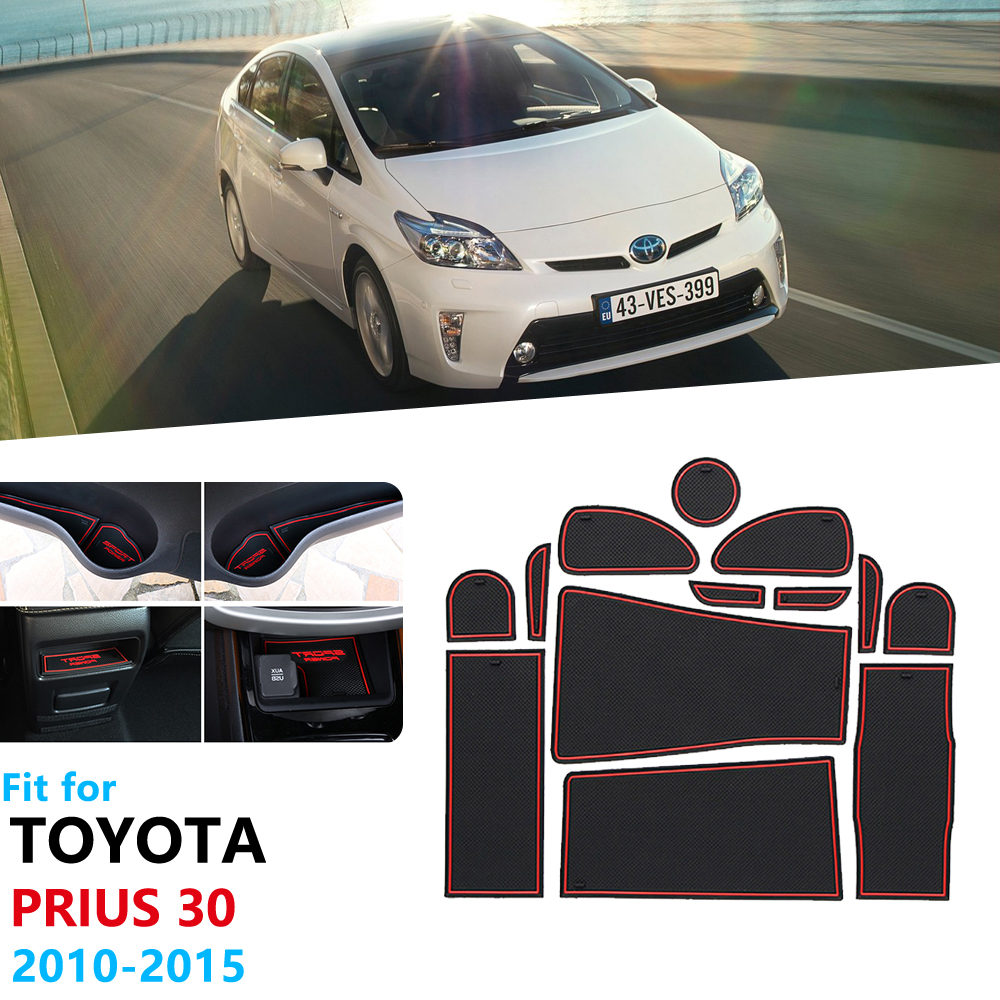 Anti-Slip Rubber Gate Slot Cup Mat for Toyota Prius 30 XW30 ZVW30 2010 2015 Door Groove Mat Accessories Stickers 2012 2013 2014