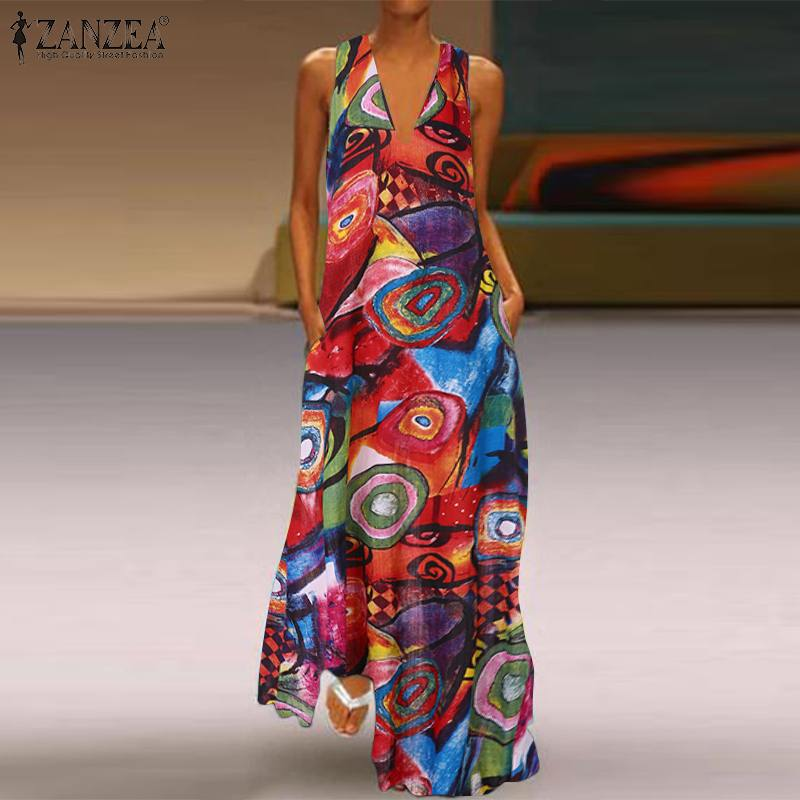 Vintage Printed Maxi Dress Women's Sexy V Neck Sundress ZANZEA Casual Sleeveless Summer Vestidos Female Floral Robe Plus Size