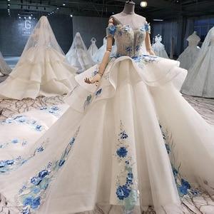 Image 3 - BGW HT41327 Cheap Wedding Dress Blue Flowers Off Shoulder Sweetheart Bead Wedding Gowns With Tail Vestidos De Noiva Plus Size