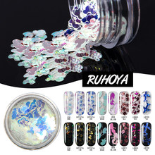 Ruhoya Peacock Holographic AB Art Decor Mix Flakes Star/Moon/Triangle/Flower/Heart/Round Nail Manicure Powder 1pcs(China)