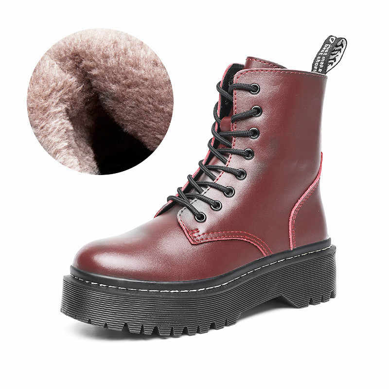 Winter Echtem Leder Motorrad Stiefel Frauen Warme Plüsch Schnee Boot Gummi Plattform Lace Up Punk Military High Top Botas Mujer