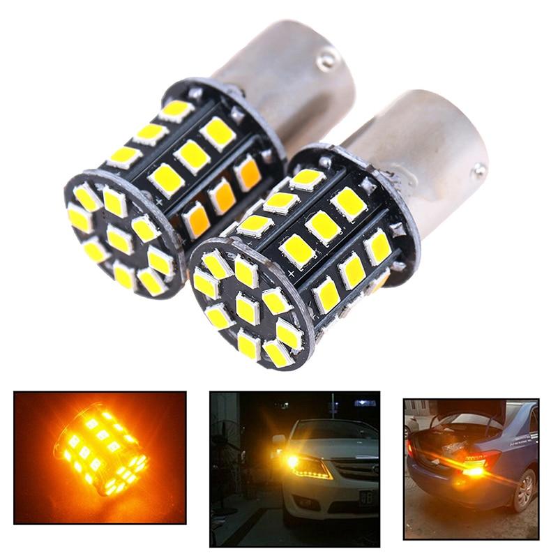 2 шт. BA15S 7507 PY21W 1156PY Высокая мощность янтарно-желтый 33 SMD 2835 Светодиодный ная лампа для передних указателей поворота индикатор направления