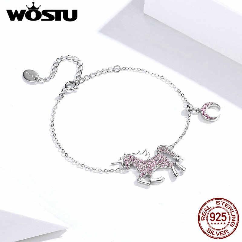 WOSTU แท้ 100% 925 Sterling Silver Unicorn แหวนสร้อยข้อมือชุดเครื่องประดับสำหรับผู้หญิงแฟชั่นเครื่องประดับหมั้นเครื่องประดับ XCS147