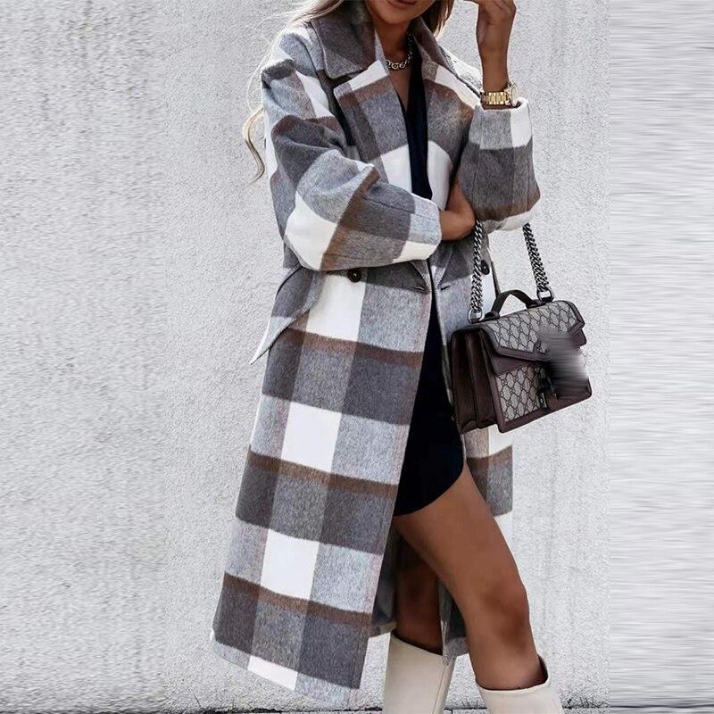 Manteau en laine croisé à col rabattu pour femme