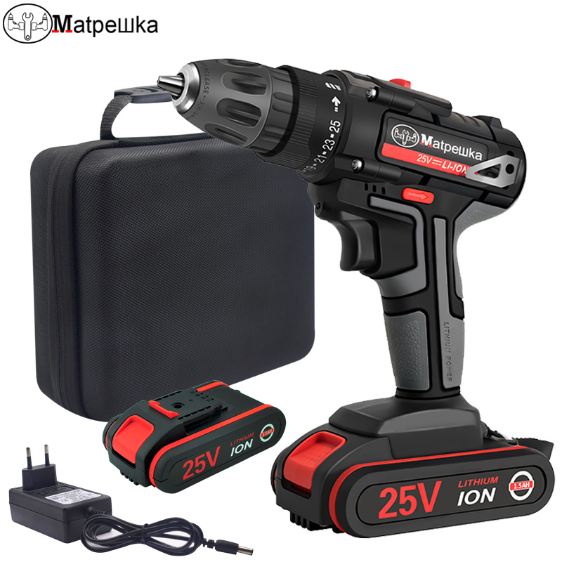 <font><b>25V</b></font> Household Cordless Electric Screwdriver Hand-held Electric Drill Rechargeable Lithium Battery Electric Tools Cloth Bag +Gift image