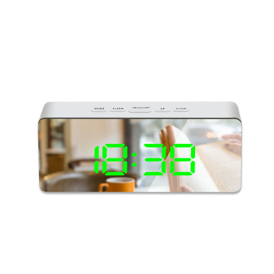 LED Mirror Alarm Clock Digital Snooze Table Clock Wake Up Light Electronic Large Time Temperature Display Home Decoration Clock 12