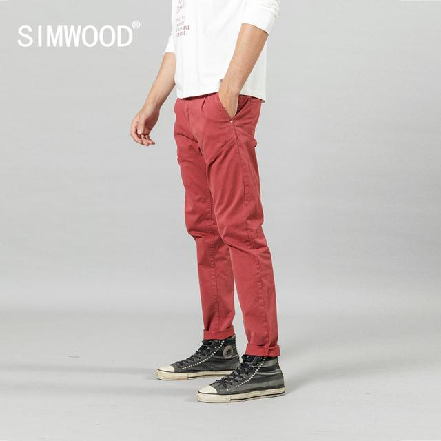 SIMWOOD 2020 new back pockets red pants men high quality little casual elastic trousers slim fit pant SI980557 33
