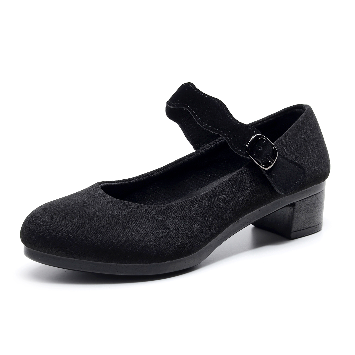 Women's Heels Shoes Women Ballet Heels Shoes Female New Work Office Black Heels Shoes Women Sweet Loafers Fashion Lace Velcro