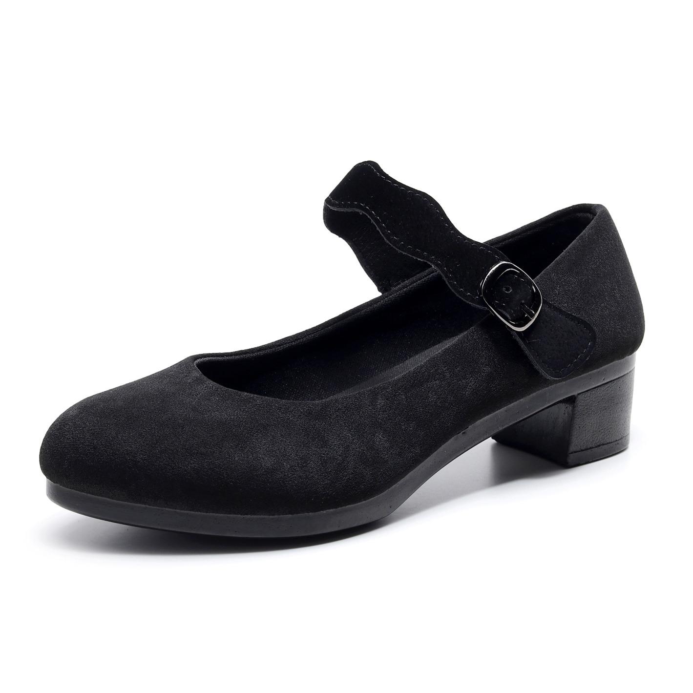 Women's Heels Shoes Women Ballet Heels Shoes Female New Work Office Black Heels Shoes Women Sweet Loafers Fashion Lace Velcro