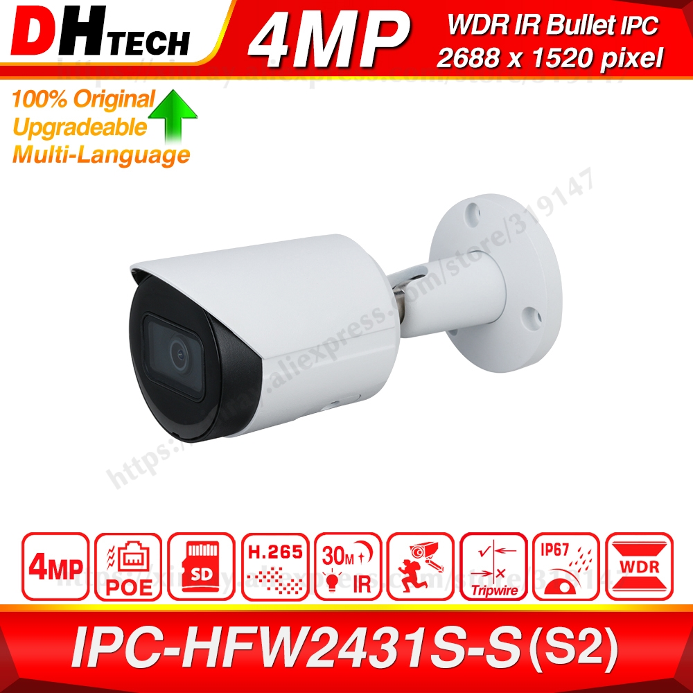 Dahua Original IPC-HFW2431S-S 4MP HD POE SD Card Slot H.265 IP67 IK10 30M IR Starlight IVS WDR Upgradeable Mini Bullet IP Camera