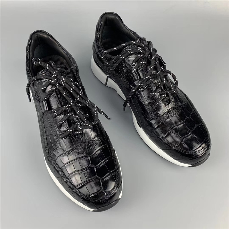Authentic Crocodile Belly Skin Male Casual Black Sneakers Real Alligator Leather High Quality Soft Rubble Sole Men Lace-up Shoe