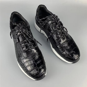 Image 1 - Authentic Crocodile Belly Skin Male Casual Black Sneakers Real Alligator Leather High Quality Soft Rubble Sole Men Lace up Shoe
