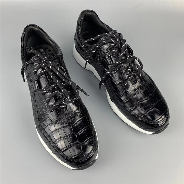 Authentic Crocodile Belly Skin Male Casual Black Sneakers Real Alligator Leather High Quality Soft Rubble Sole Men Lace up Shoe