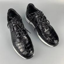 Authentic crocodilo barriga pele masculina casual preto tênis real couro de jacaré alta qualidade macio entulho sola homem laço up sapato