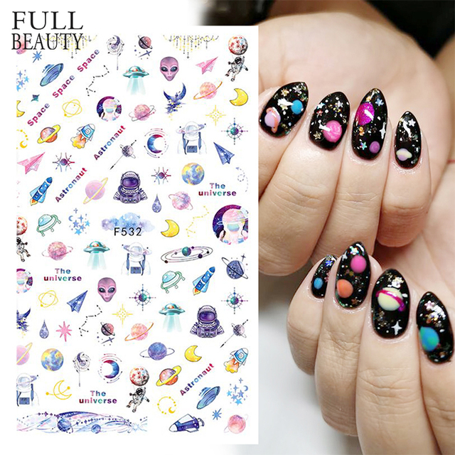 1pcs Space Nails Colorful Planet Alien Design 3D Nail Stickers Transfer Sliders for Nail Art Decoration Adhesive Manicure CHF532