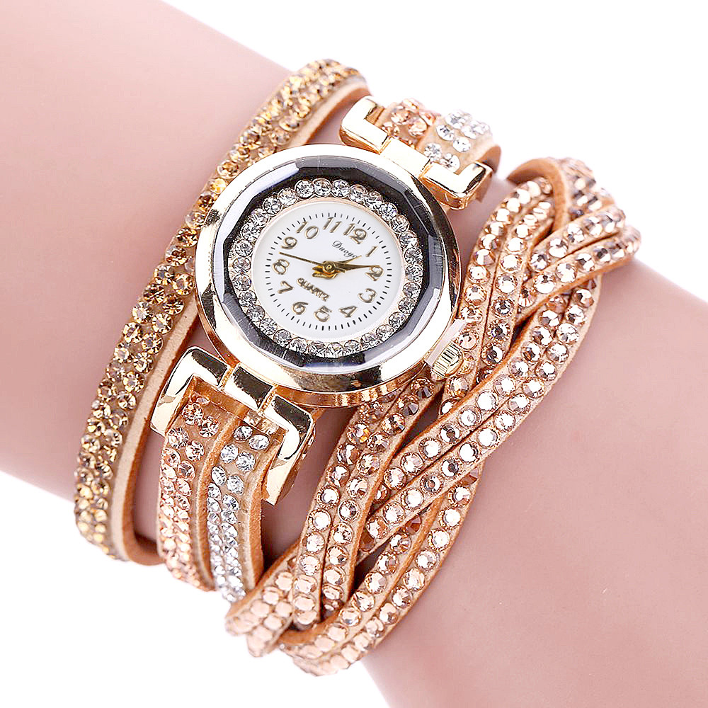 Luxury Fashion Women's Watches Crystal Gold Bracelet Alloy Round Quartz Wristwatch Rhinestone Leather Strap Watches H51