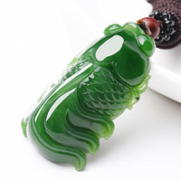 Drop Shipping Natural Green Nephrite Pendant Necklace Carved goldfish Pendant Men Women Fashion Jewelry Free rope