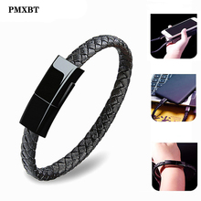 Leather Bracelet Charger Cable Type-C USB Wristband Data Charging Sync Cord For iPhone 8 Android Phone Charge Wire Gift