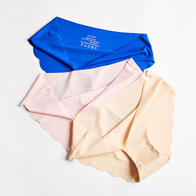 Women Seamless   Panties   Sexy Briefs Ice Silk Lingerie Mid-Waist Underwear   Panty   Female Underpants Thongs #F
