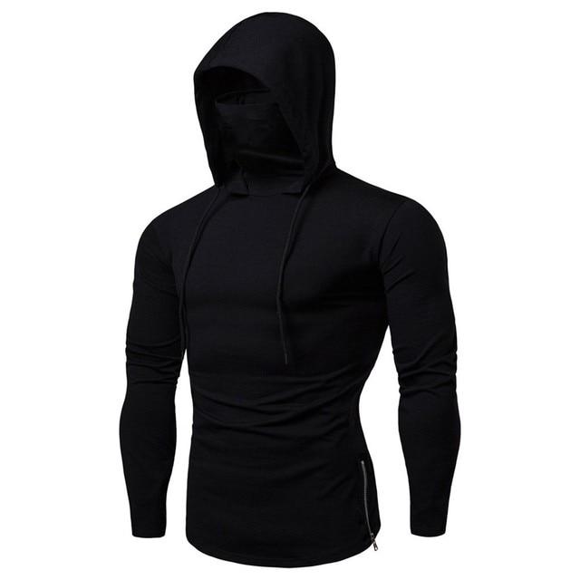 Mens Maske Button Hooded Sports Hooded Splice Large Open-Forked zipper Male Long Sleeve Sweatshirt Hoodies sudaderas para 2