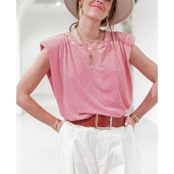 pink kawaii casual shoulder pad sleevless tshirt