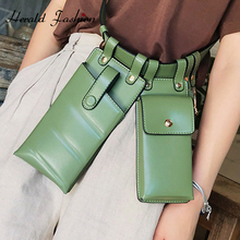 Herald Fashion 2 Pieces Ladies Waist Bag Leather Waist Belt Bag Crossbody Chest Bags Girls Fanny Pack Small Phone Bag For Women studded transparent 2 pieces crossbody bag set