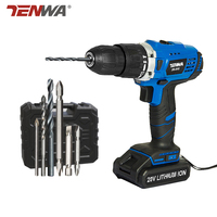 TENWA 20V Impact Cordless Drill Electric Screwdriver USB Output 13Pcs Drill Bit With Box LED LIGHT 1500mAh Battery Mini Drill|Electric Drills| |  -