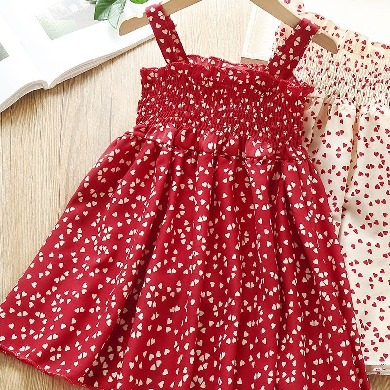 VIDMID Summer New party style clothes Girls Sexy Dress Red floral Plaid children kids Sleeveless cotton Short Dresses P510 6