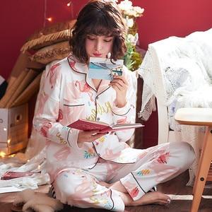 Image 3 - Womens Sleepwear Sexy Pajamas Sets Long Sleeve Top + Pants Autumn Winter Cute 2 Pieces Pyjama Pj Sets Ladies Cute Homewear