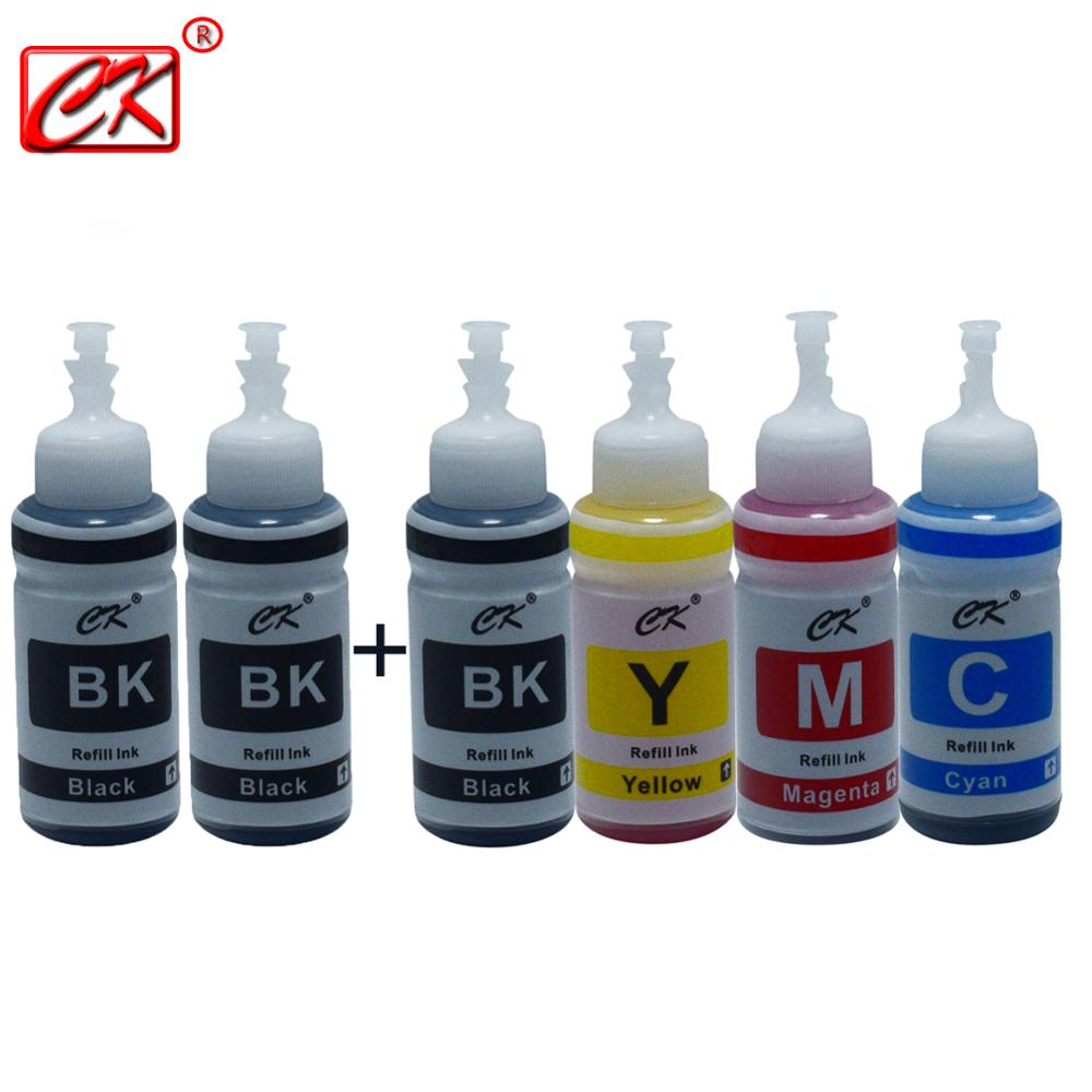 CK 6pc 3BK/1C/1Y/1M Printer Ink Kit for Epson L100 L110 L120 L132 L210 L222 L300 L312 L355 L350 L362 L366 L550 L555 L566
