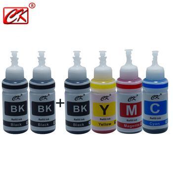 CK 6pc 3BK/1C/1Y/1M Printer Ink Kit for Epson L100 L110 L120 L132 L210 L222 L300 L312 L355 L350 L362 L366 L550 L555 L566 printer