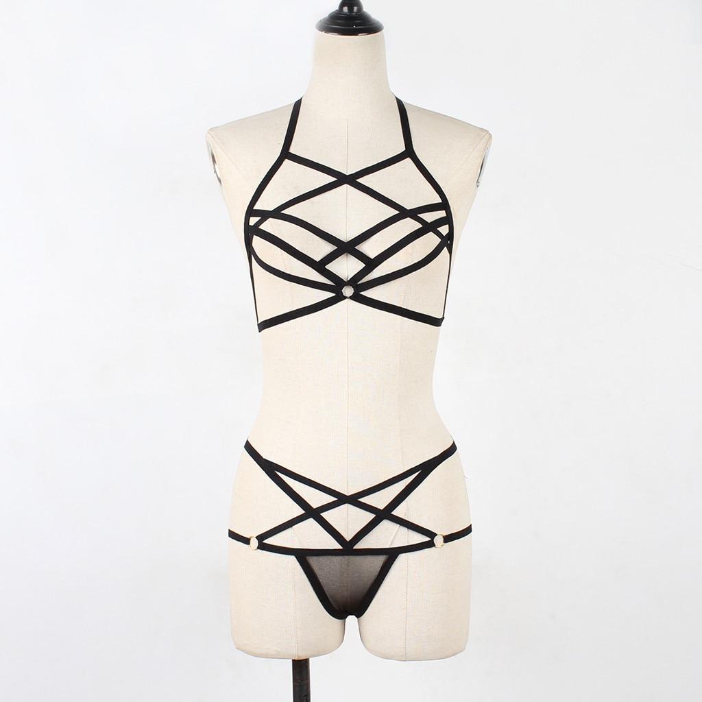 Sexy lingerie porno body underwear Women babydoll Corset Solid Mesh Underwire Muslin Sleepwear underpants Set