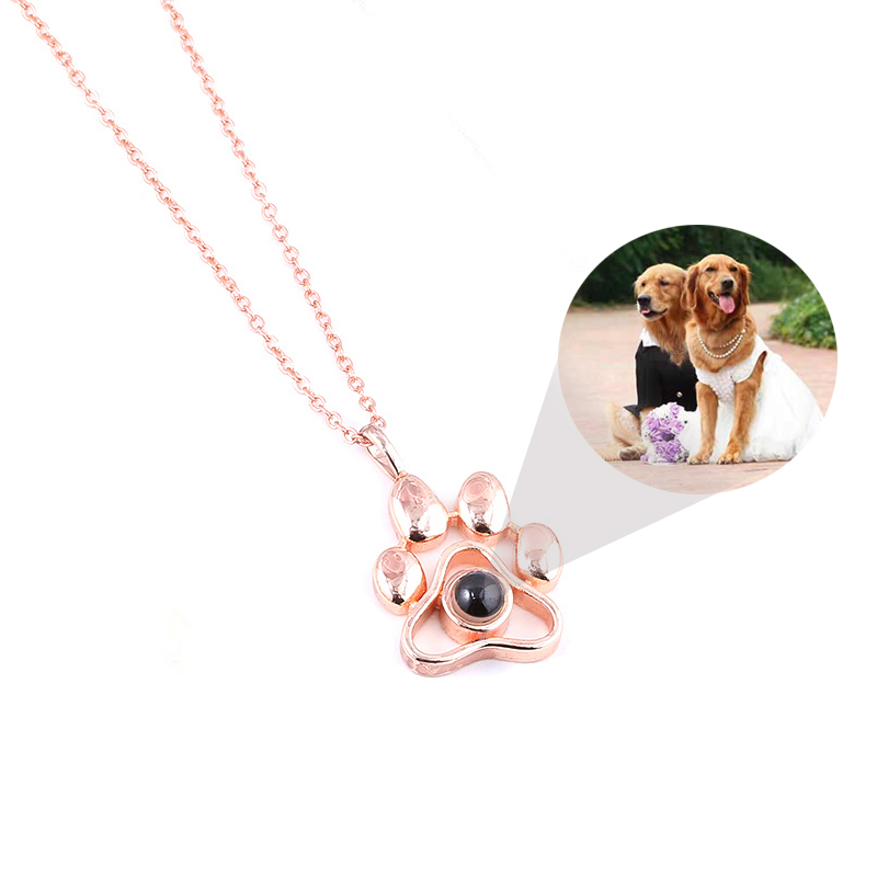 Cat Dog Paw Pet Photo Projection Pendant Necklace Footprints 100 languages I Love You Choker Necklace for Women Men Jewelry