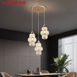 Image 2 - Nordic LED Pendant Lights Crystal Gold Hanging Lamp For Dining Table Bar Kitchen Living room lampada industrial Modern Light