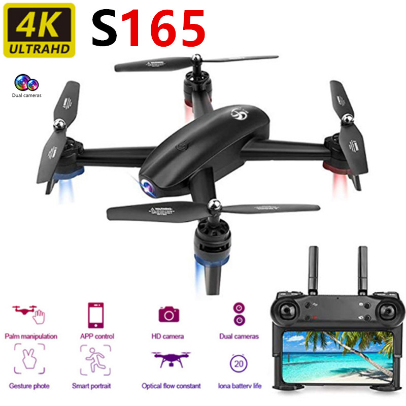 <font><b>S165</b></font> Foldable <font><b>Drone</b></font> 4k HD Dual Camera 1080p Optical Flow Positioning <font><b>Drones</b></font> RC Quadcopter 25 Minutes Long life Kids Toys Gift image